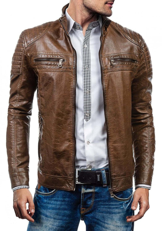 BOLF Men's Jacket Leatherette Full Zip High Collar Pockets ISSHO 1774A