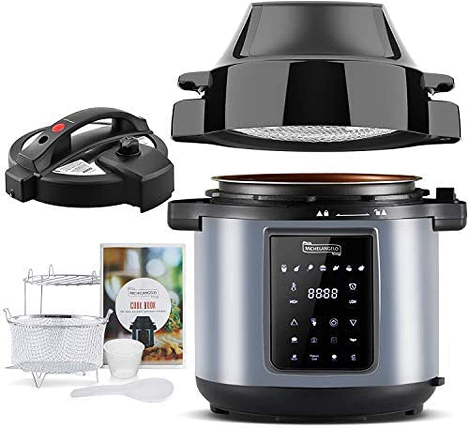 Amazon Com Michelangelo 6 Qt Pressure Cooker Air Fryer Combo All In 1 Pressure Cooker With Air Fryer Two Detachable Lids For Pressure Cooker Pressure Fryer Air Fryer Rice Slow Cooker Steamer Warmer