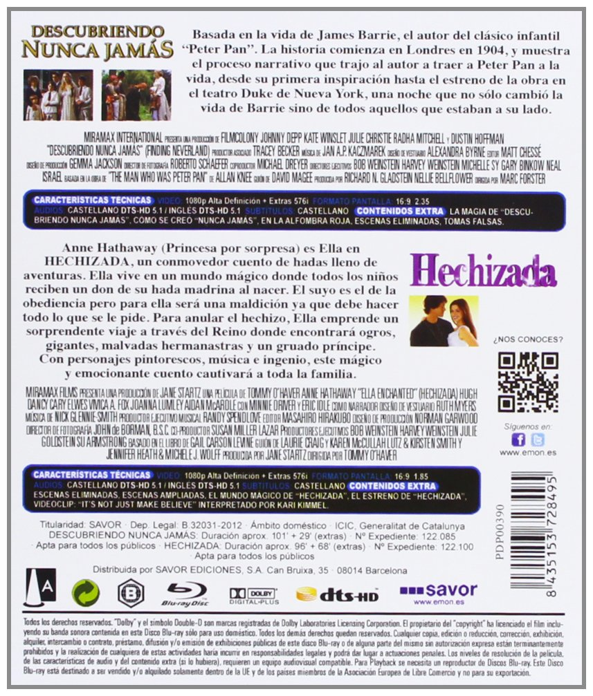 Amazon.com: Pack: Descubriendo Nunca Jamás + Hechizada (Blu ...