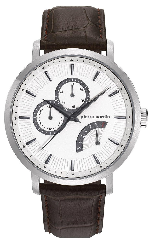 Pierre Cardin Pompeシルバーメンズブラウンレザーwatch-pc107551 F01 B01C7A9R22