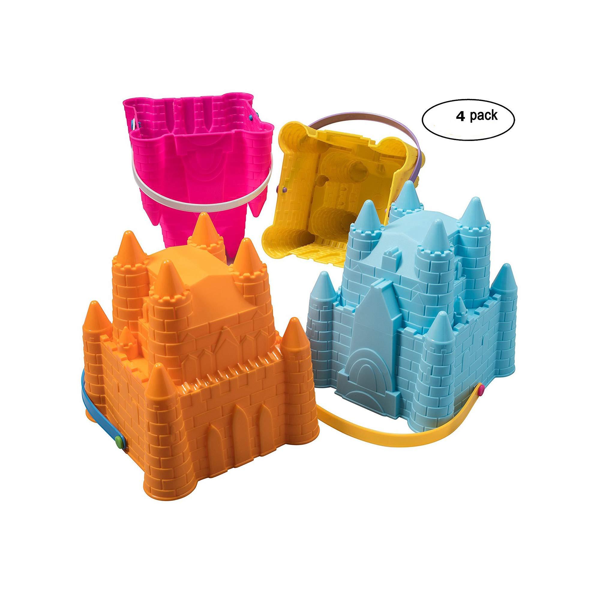 Top Race Sand Castle Pail Buckets, Beach Pails, Sand Mold Pails, 8'' inch Pack of 4