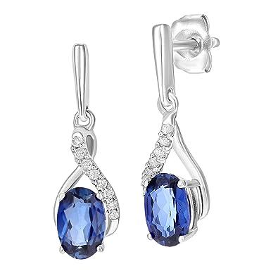 925 Sterling Silver Siberian Tanzanite Oval GIFT SET Pendant, Fishhook Earrings, Chain - December Birthstone