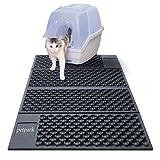 Unterlage für Katzenklo Katzentoilette Vorleger Katzenklo Matte Katzenstreu Matte für Katzen Extragroße Doppelte Struktur Matte Wasserdicht Schwarz