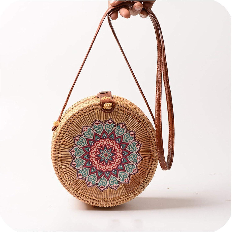 Women Flower Knitting Straw Bags Shoulder Rattan Bag Girls Handmade Handbags Round Woven Summer Beach Crossbody Bag Handbag
