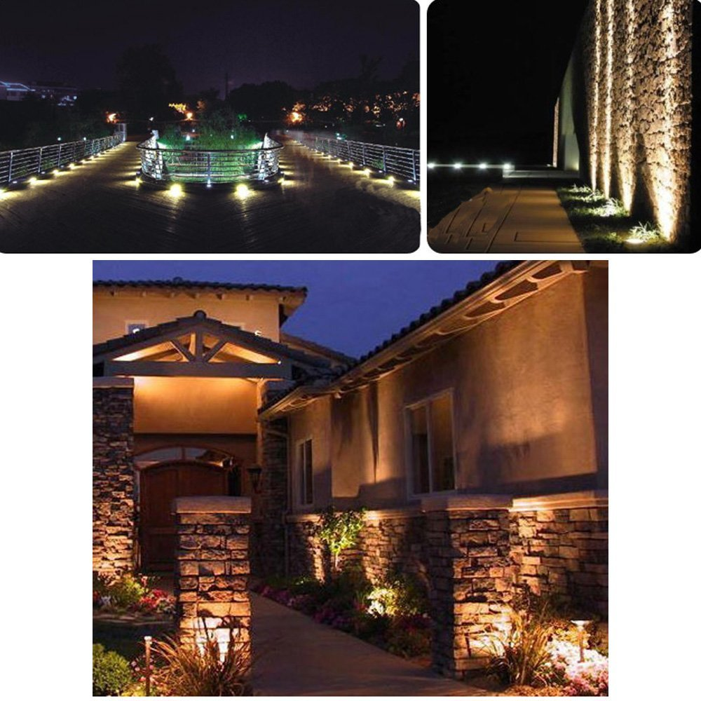 SinoPro Outdoor IP65 Waterproof Decorative Spotlight-6W COB LED Landscape Garden Wall Yard Path Light AC 85-265V with Flat Base, Pack of 2 (Warm White)