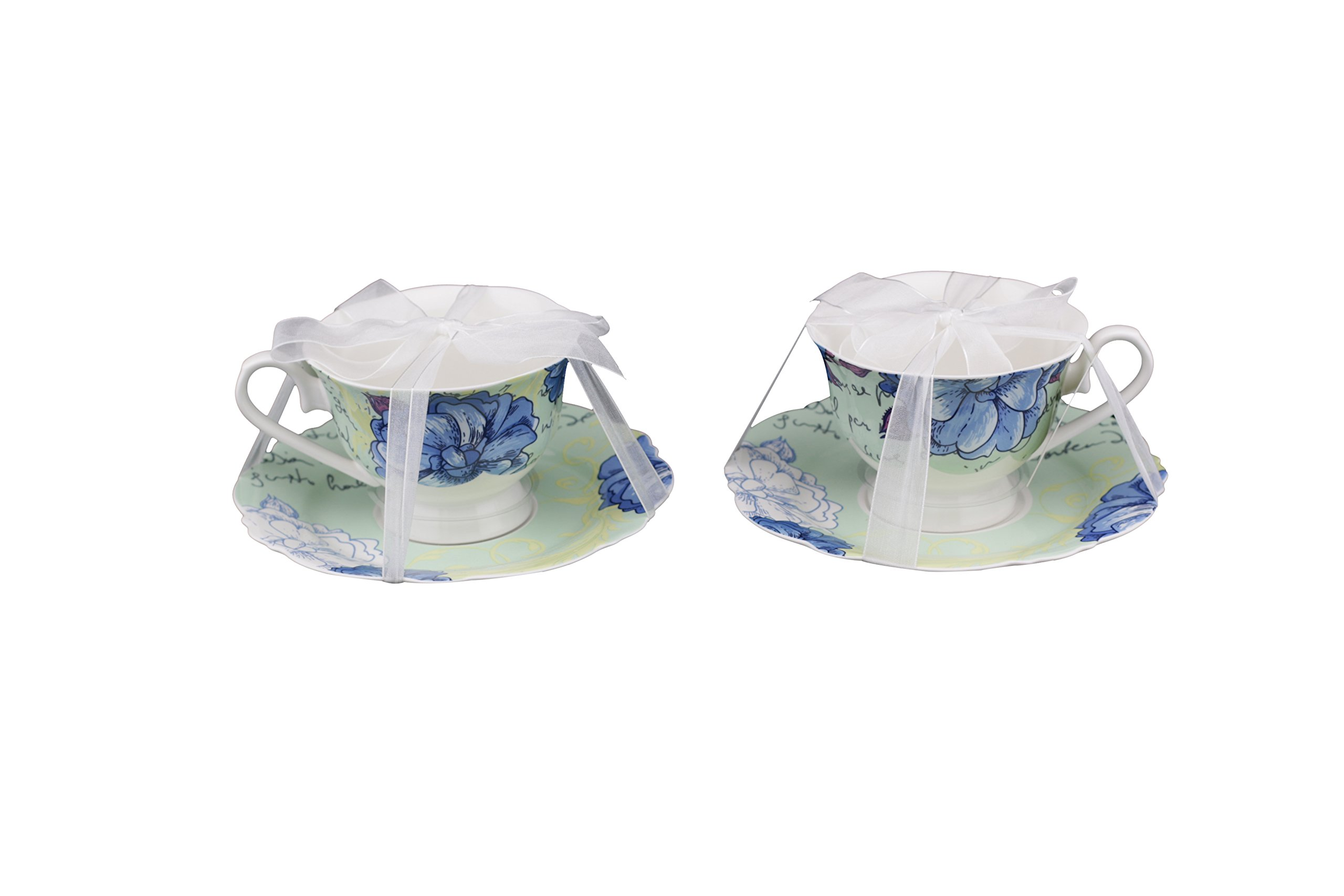Scarlett Bone China 4-Piece Tea Cup and Saucer Set, Blue Peony, Set of 2