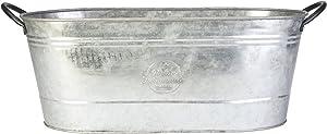 """16"""" Oval Washtub Planter, Aged Galvanized Finish"""