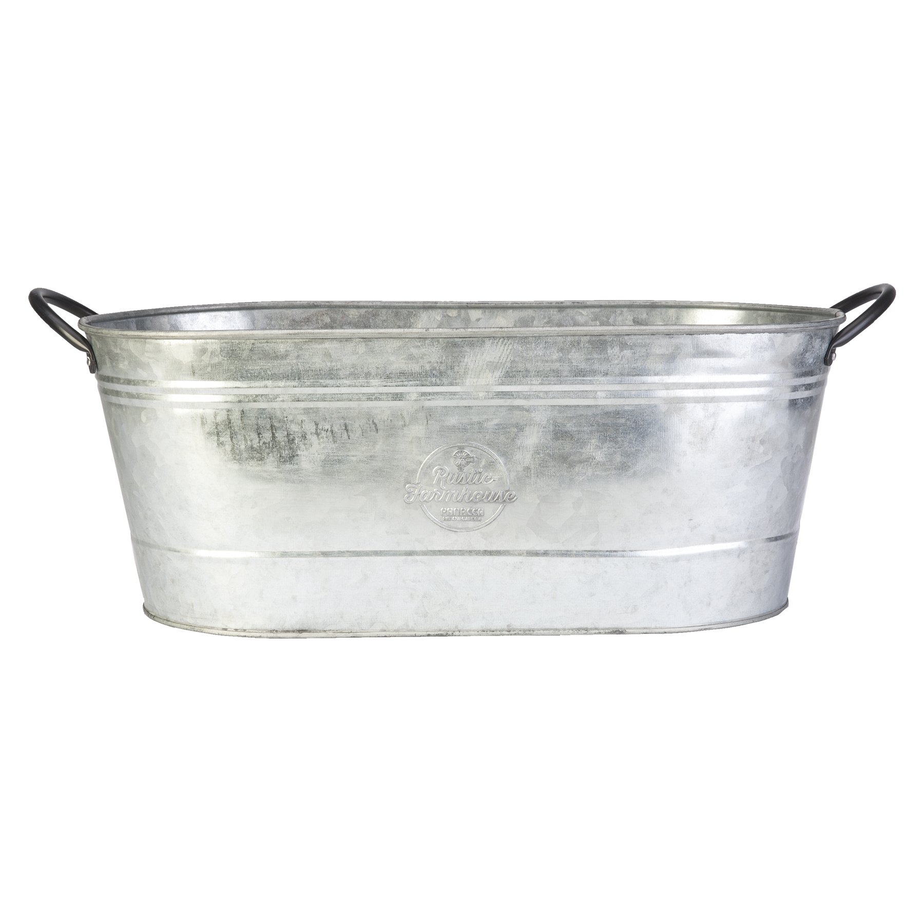 16'' Oval Washtub Planter, Aged Galvanized Finish by Panacea