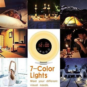 Wake Up Light, SIEGES Reloj de alarma LED Sunrise Sunset Simulation, Luz de noche con radio FM 7 colores Light, 6 Wake Ups naturales Control táctil y ...