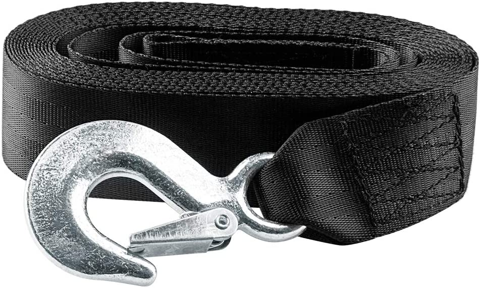 """CarBole Trailer Winch Strap 2"""" x 20' with Safety Snap Hook 10000 lbs Black: Automotive"""