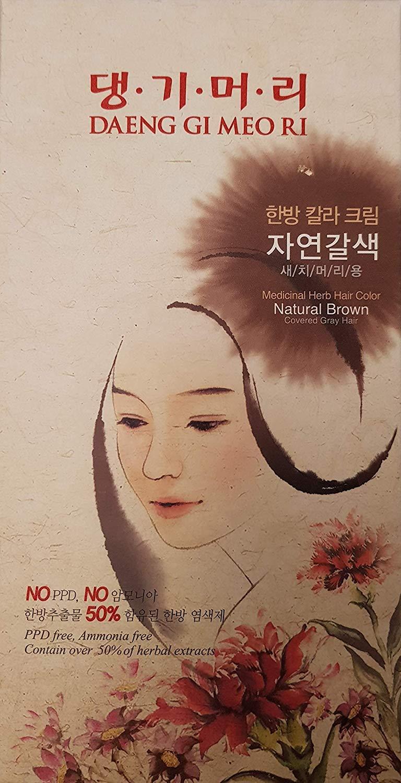 Daeng Gi Meo Ri Medicinal Herb Hair Color to cover gray hair (Natural Brown) (2 PACK) by Doori