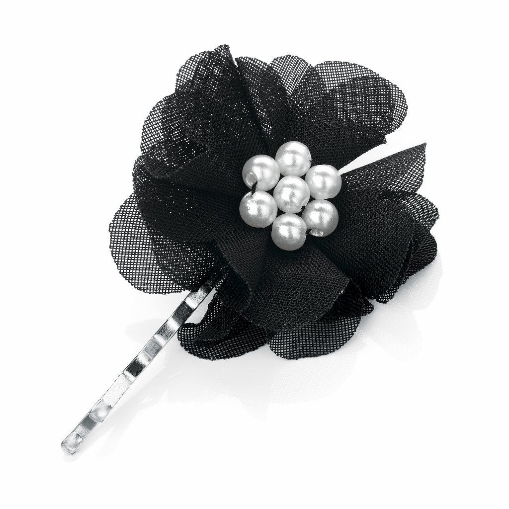 Small Black Organza Flower Pearl Centre Hair Slide Grip Pin Clip Pritties Accessories PRH05217