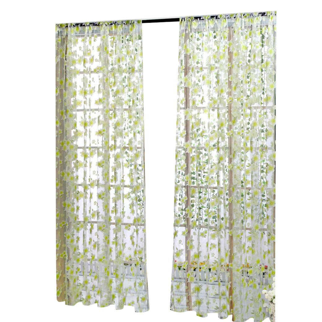 Promisen Six-Leaf Flower Pattern Sheer Curtains,Modern Smooth Floral Sheer Window Curtains for Dining Room,Living Room,Bedroom (Green)