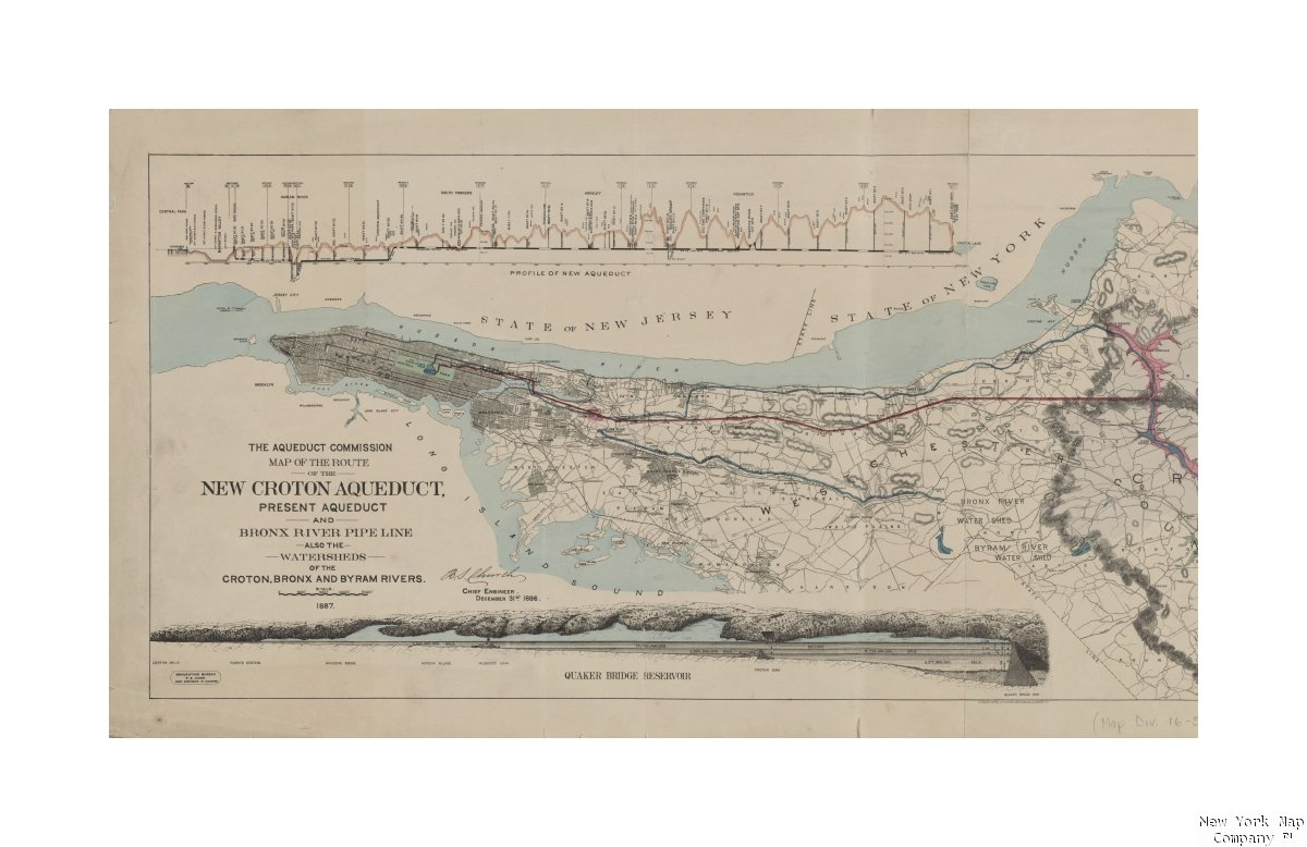 Map Of New York Rivers.Amazon Com 1887 Map York N Y Map The Route The Croton Aqueduct
