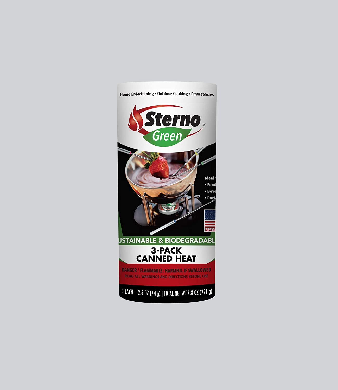 Sterno Entertainment Cooking Fuel, 3-Pack Canned Heat, 2.6 oz, Red