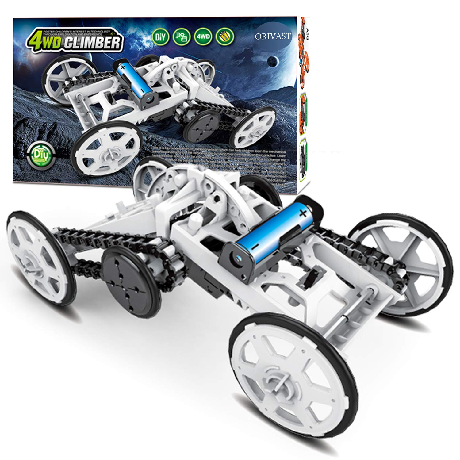 DIY STEM Toys for Boys and Girls ORIVAST Science Kits for Kids 4WD Climbing Vehicle STEM Kit Electronics Circuits Engineering and Science Experiments for Kids and Teens