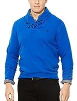 Polo Ralph Lauren Men's Big & Tall Pima Fleece Shawl Pullover in Pacific Royal Blue