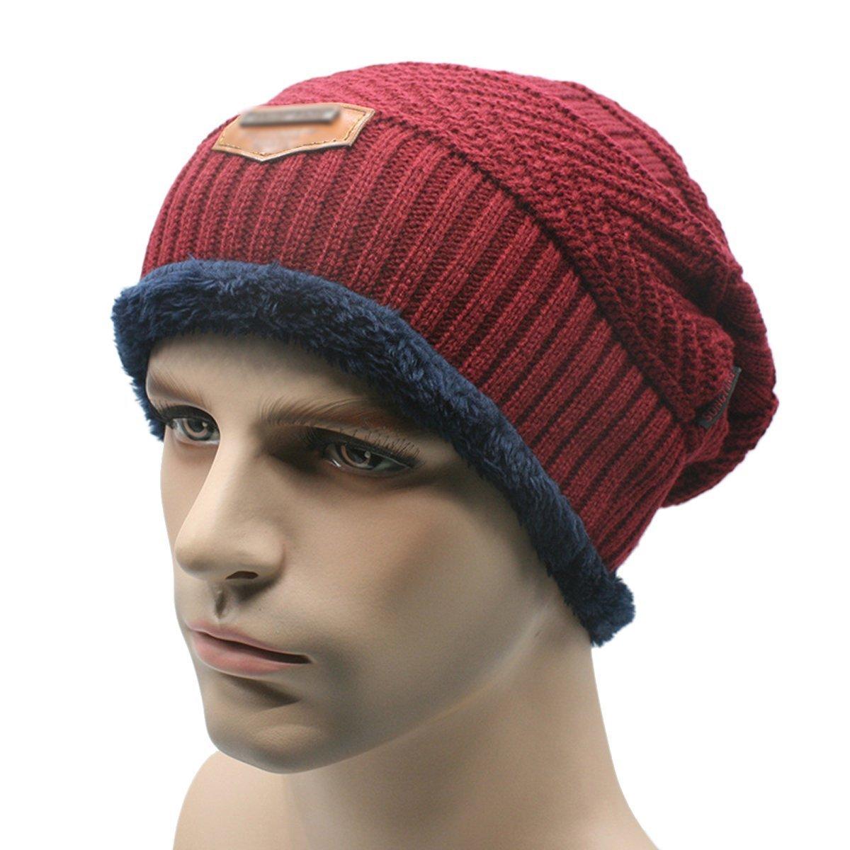 HugeStore Men's Winter Warm Fleece Lined Crochet Beanie Skull Cap Hat Ski Hat Knitted Beanie Cap Coffee
