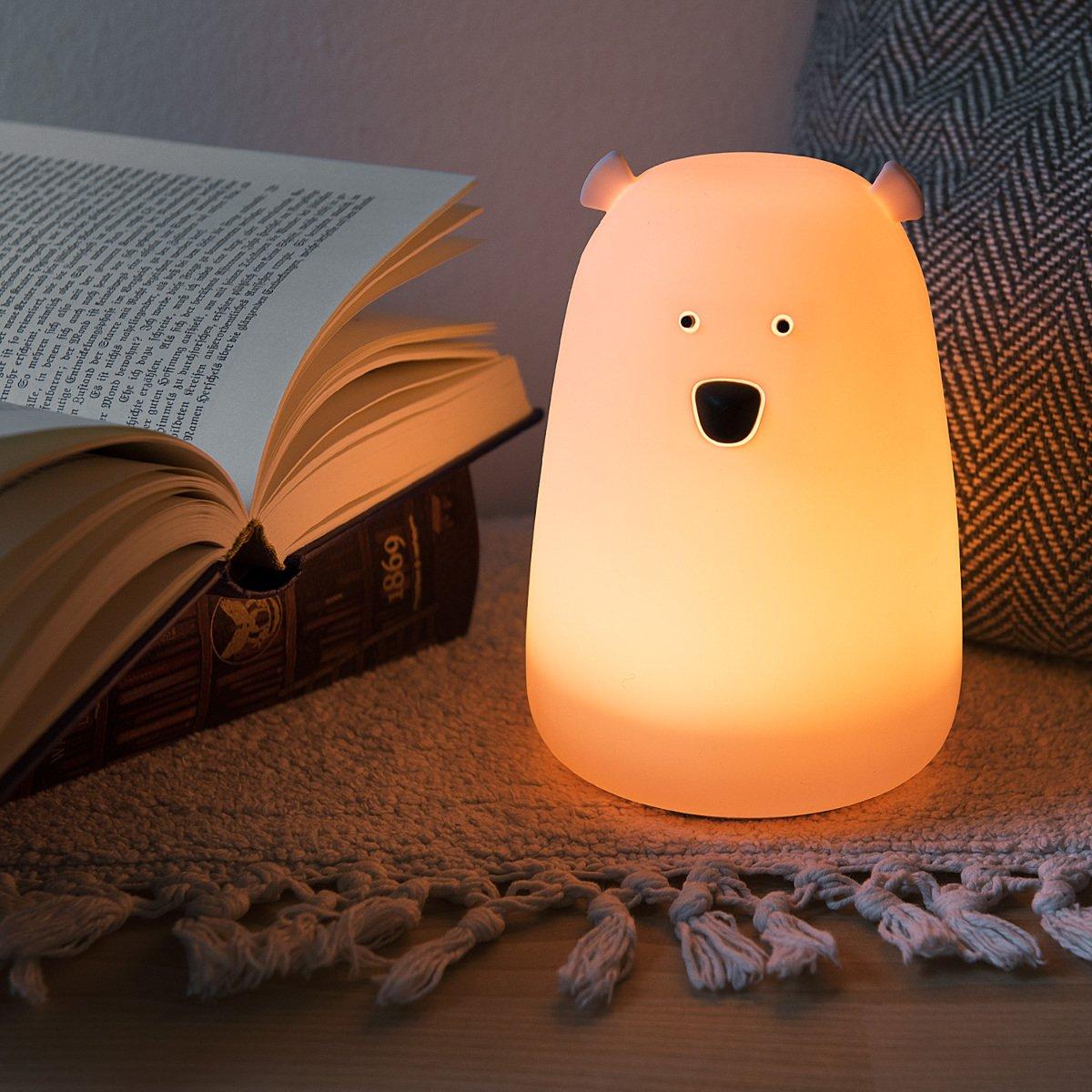 Changement de couleur RGB lampe de chevet pour enfants et b/éb/és Navaris veilleuse LED design ours C/âble micro USB Veilleuse ourson blanc