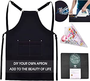 Canvas Apron DIY Hot Stamping - Adjustable Black Cooking Aprons with 4 Pockets Creative DIY Patterns Funny Kitchen Aprons Women Men Christmas Gift for Home Garden BBQ Coffee House (1, Black)