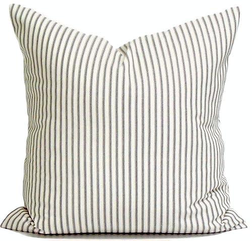 Charcoal Gray Throw Pillow Cover Ticking Pillow Cover Ticking Stripe Throw Pillow Farmhouse Pillow Farmhouse Decor