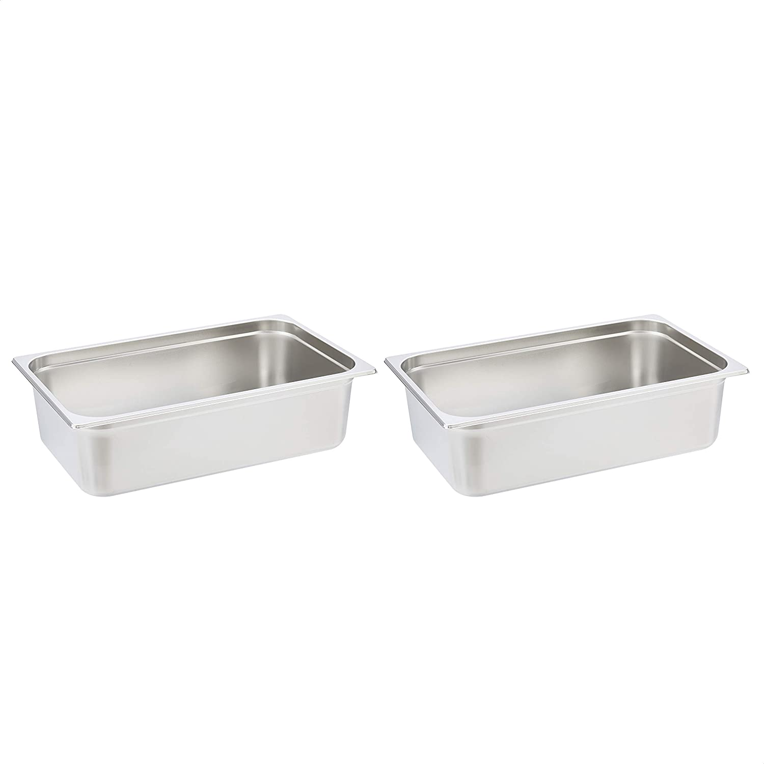 "AmazonCommercial Full Size x 6"" Deep, Anti-Jam Stainless Steel Steam Table/Hotel Pan, 22 Gauge, Pack of 2"