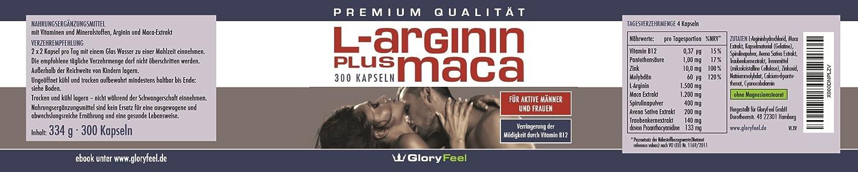 Polvo de Maca Más Arginina - concentrado y puro -1500 mg de L-Arginina + 1200 mg de Extracto de Maca + 140 mg de extracto de semilla de uva por dosis diaria ...