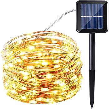 Icicle Solar Fairy String Lights, 33ft 100 LED Flexible