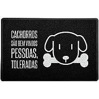 Capacho / Tapete 60x40cm - Cachorros São Bem Vindos Preto