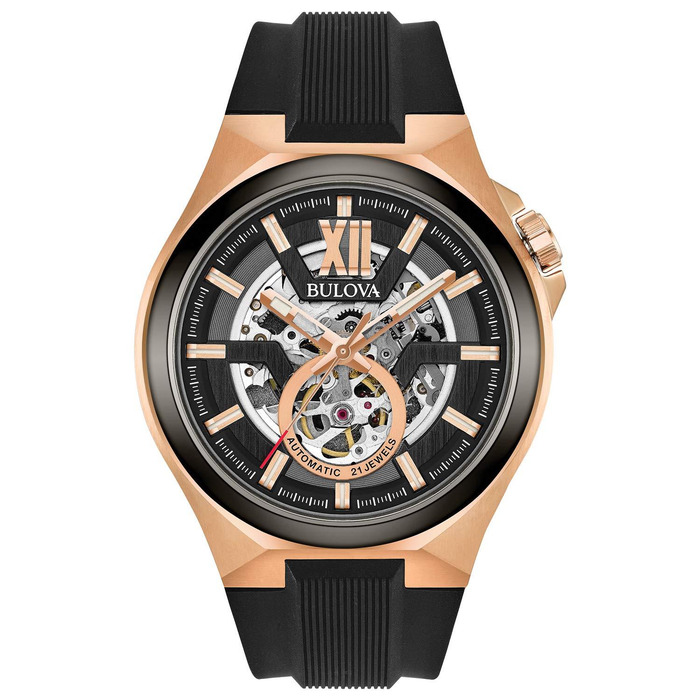 Reloj Bulova para hombre de acero inoxidable automático de cuerda automática con correa de silicona, negro, 27 (modelo: 98A177)