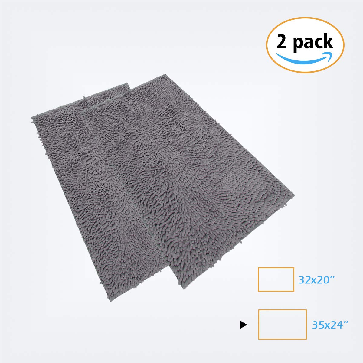 YOUKADA 2-Pack Bath Mat Shag Microfiber Bathroom Mats Machine-Washable Bedroom Mats Anti Slip Water Absorbent TPR Surface Non-Shedding Runner Carpet Mats for Bath Tub Shower Bathroom 20x32 inch(Gray)