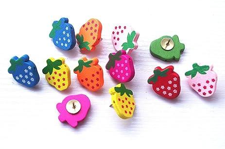 Amazon.com : 20 PCS Cute Strawberry Push Pins, Multicolor woody ...