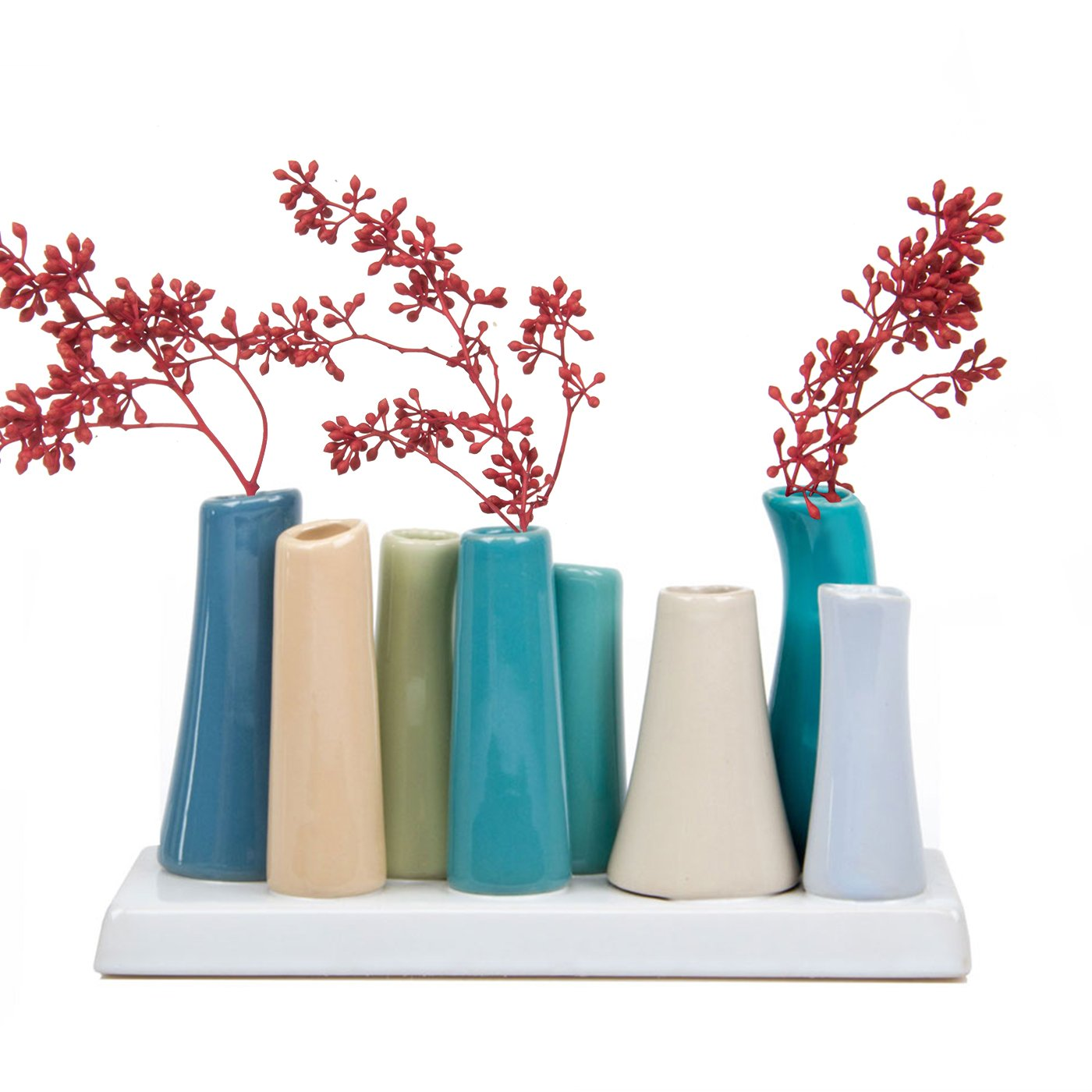 Chive Pooley 2, Unique Rectangle Ceramic Flower Vase, Small Bud Vase, Decorative Floral Vase for Home Decor, Table Top Centerpieces, Arranging Bouquets, Set of 8 Tubes Connected (Steel Blue, Green)