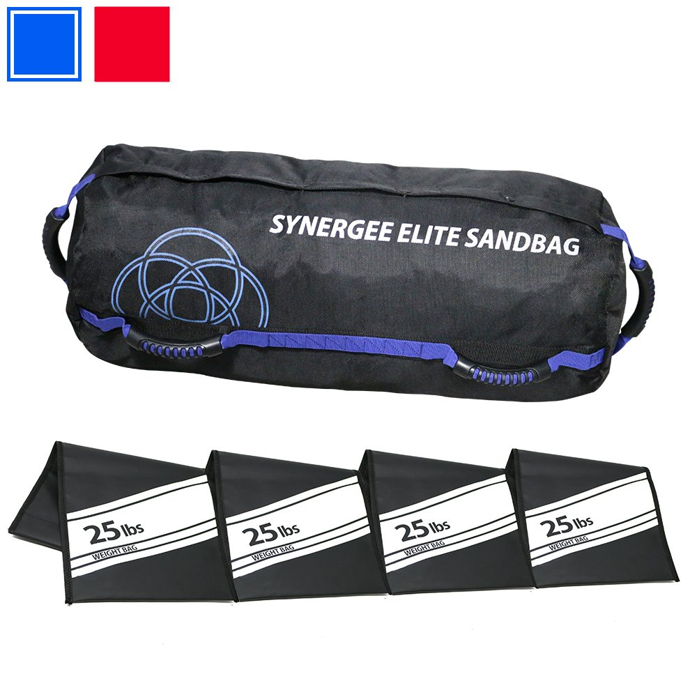 Synergee Elite Adjustable Fitness Sandbag with (4) Filler Bags 25-100lbs Heavy Duty Weight Bag