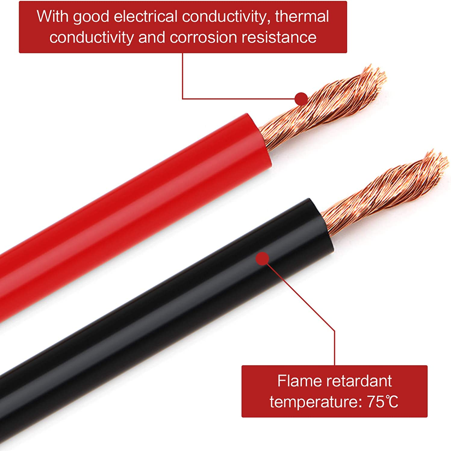 Haisheng 2PCS Black and red Battery Cable Auto Battery Cable Battery Lead Copper Flexible Wire 5AWG 100A for Cars Motorcycles Ships 54cm