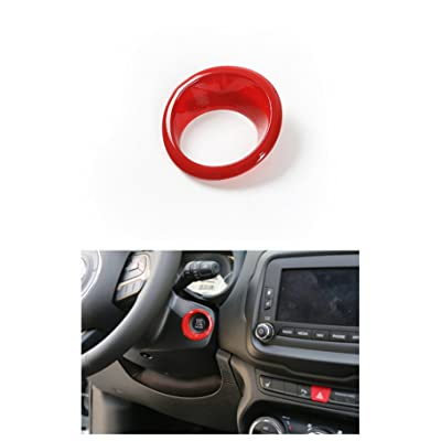 Dwindish Red ABS Car Engine Start Stop Sticker Ignition Key Ring Switch Cover for Jeep Renegade 2015 Up Compass 2020: Beauty