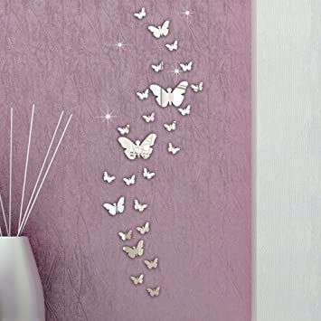 Ussore 30PC Butterfly Combination 3D Mirror Wall Stickers Home Decoration DIY Decals Living Room