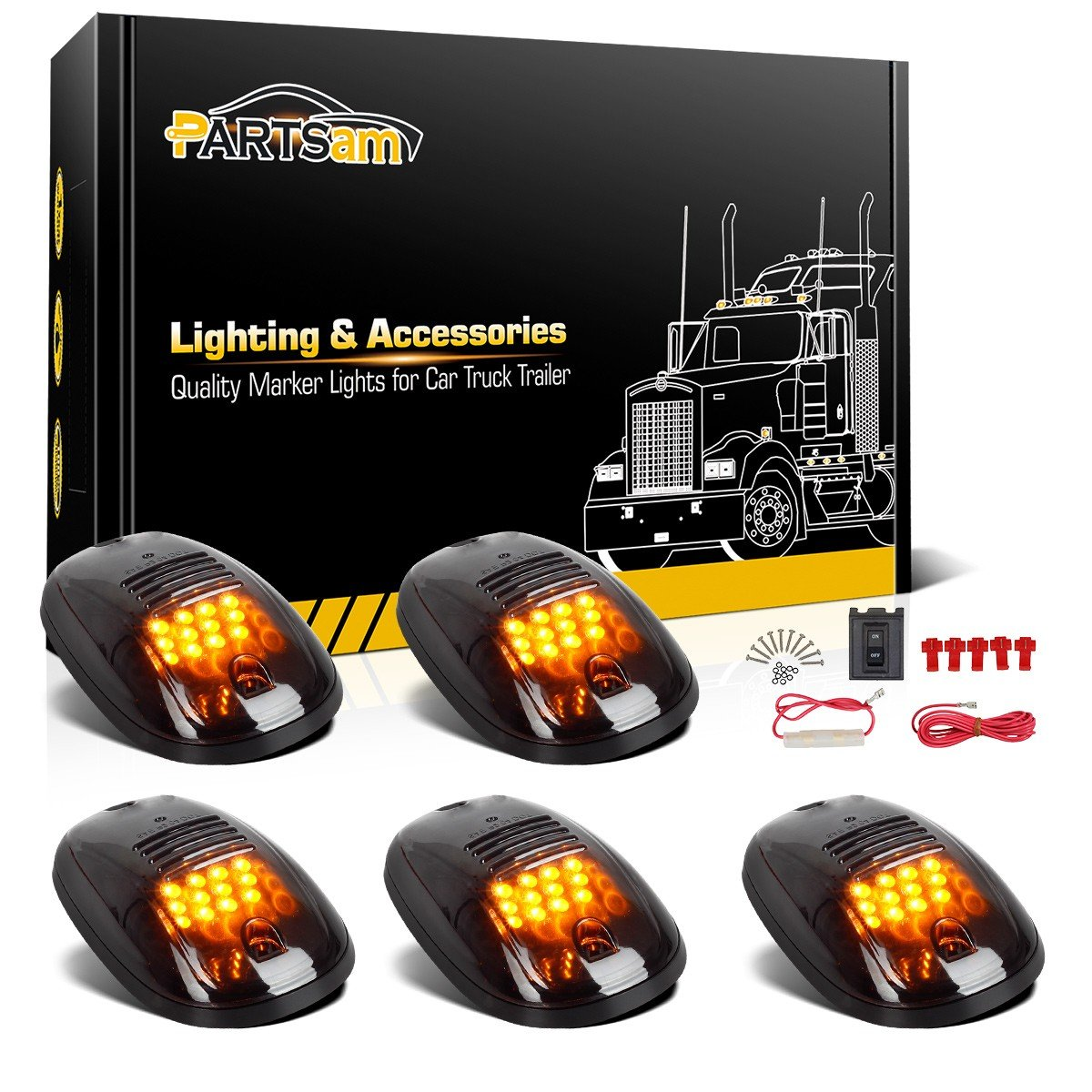 Amazon.com: Partsam 5x Amber 12 LED Smoke Cab Roof Running Top Clearance  Marker Lights 264146BK Assembly+Wire Harness Replacement For 2003-2018 Dodge  Ram ...