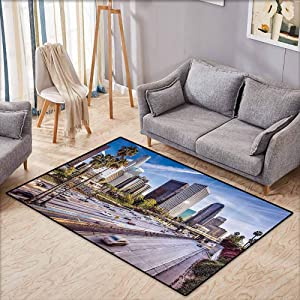 "Rectangular Rug,Travel Decor,Downtown Cityscape of Los Angeles California USA Avenue Buildings Palms,Large Area mat,3'11""x5'10"",Blue Grey Green"