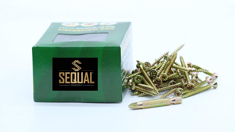 Sequal Vis /à bois multiusage haute performance pour usage professionnel et domestique avec embout gratuit