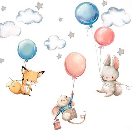 Little Deco Dl312 Baby Room Wall Sticker Rabbit Fox And Mouse Balloons Stars Children S Images Stickers For Boys Girls Bedroom Küche Haushalt