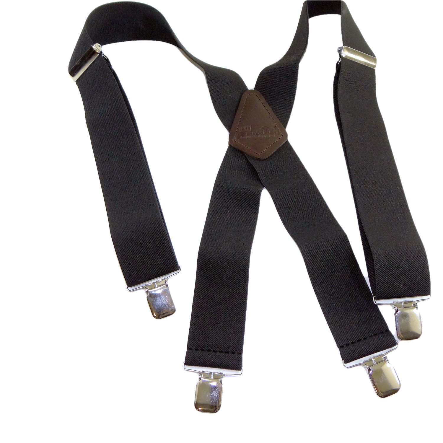 Holdup Suspenders Company exclusive Contractor Series 2'' Wide Black Suspenders with Jumbo No-slip Silver Clips are made in the USA