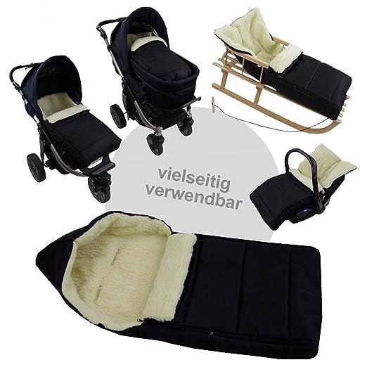 Bambiniwelt Kombi Angebot Muff Winterfußsack 108cm Aus Lammwolle Für Kinderwagen Buggy Radanhänger Wolle Liniert Beige Baby