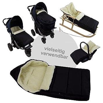 Bambiniwelt Universaler Winterfußsack 108cm Auch Geeignet Für Babyschale Kinderwagen Buggy Aus Wolle Uni Liniert Schwarz Baby