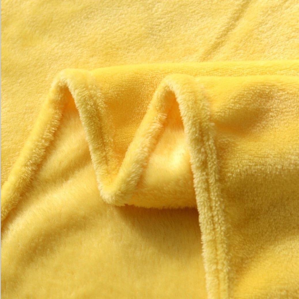 Cooljun Fashion Super Soft Warm Solid Warm Micro Plush Fleece Blanket Throw Rug Sofa Bedding Yellow