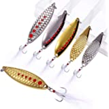 TOPFORT Fishing Lures, Fishing Spoon,Trout Lures, Bass Lures, Spinning Lures,Hard Metal Spinner Baits kit with Carry Box