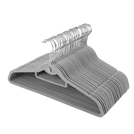 Homfa Perchas de Terciopelo Set de 40 Perchas Adultos Antideslizantes para Abrigos Pantalones Chaquetas con Gancho Giratorio a 360/º Gris 45cm
