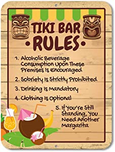 Honey Dew Gifts Tiki Bar Rules, 9 x 12 inch Novelty Tin Tiki Bar Decor and Signs, Tiki Decorations