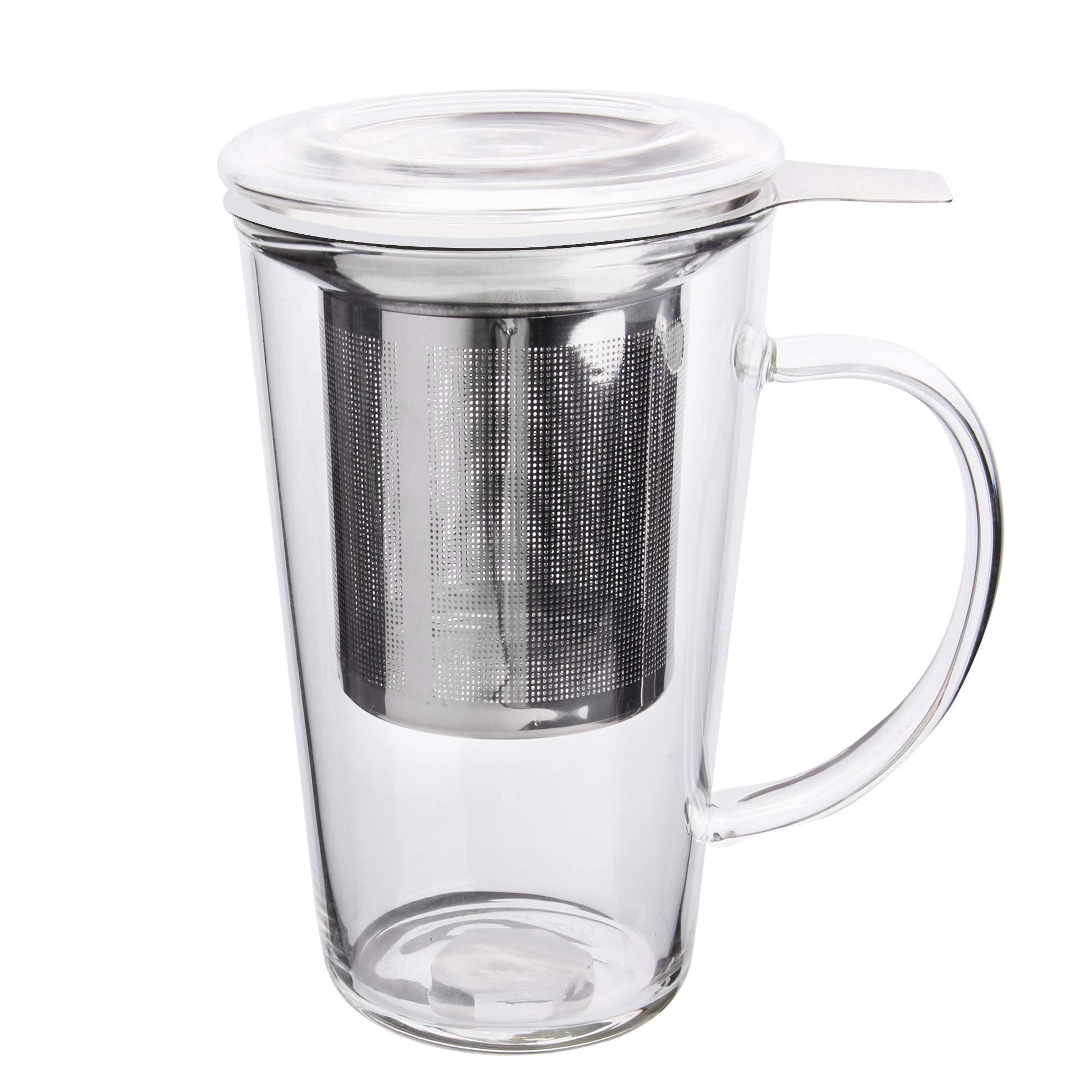 Enindel Fashion Simple Style Tea Mug with Infuser and Lid Glass Tea Cup 16 OZ (16 OZ Glass set of 1)