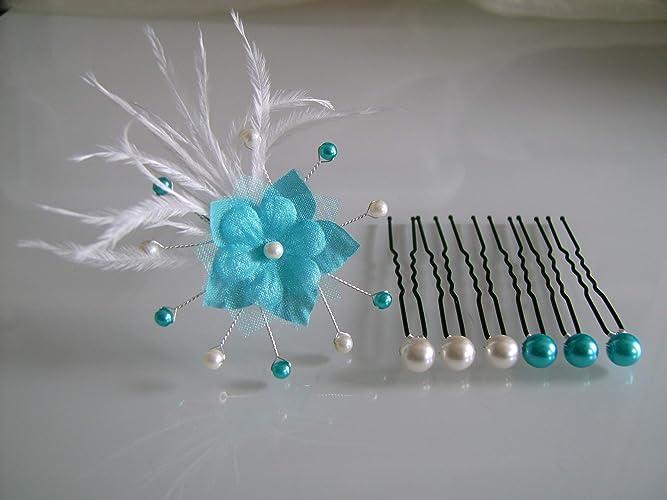 Lot Pics Bijoux Epingles Pinces Chignon Cheveux Accessoire p robe Mariée  Mariage Soirée Cérémonie Coktail Bleu 48b58d1a790b
